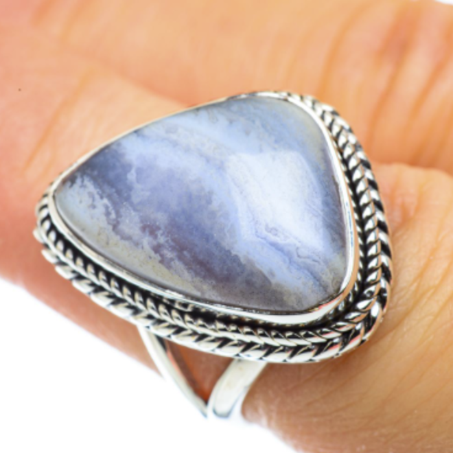 Blue Lace Agate Ring - Size 7 - Sterling Silver