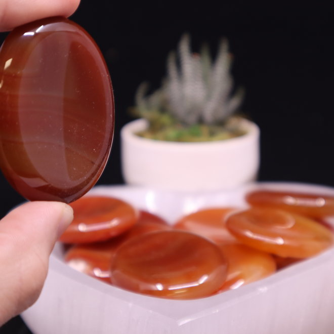 Banded Carnelian Worry Stone -Large Oval