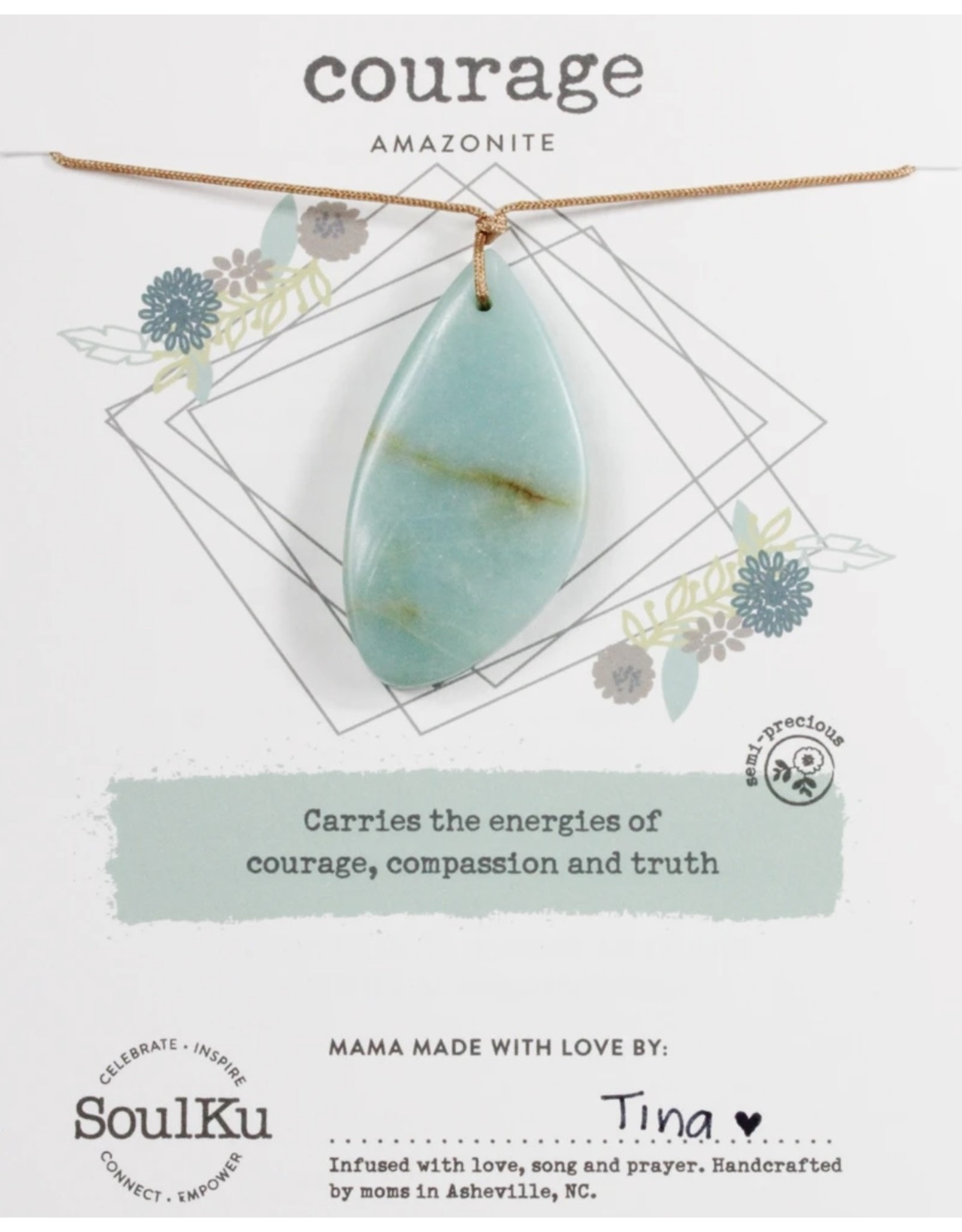 Amazonite Touchstone Necklace for Courage-SoulKu