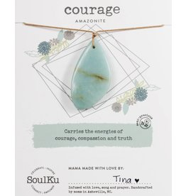 Amazonite Touchstone Necklace for Courage-SoulKu