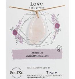 Rose Quartz Touchstone Necklace for Love-SoulKu