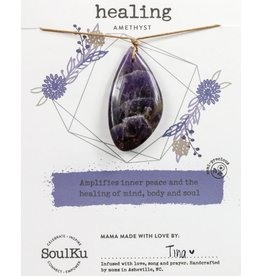 Amethyst Touchstone Necklace for Healing-SoulKu