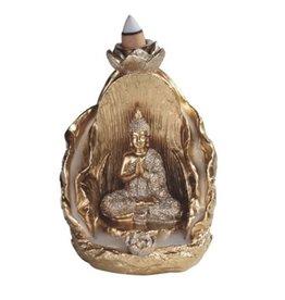 Gold Buddha with Lotus Backflow Burner