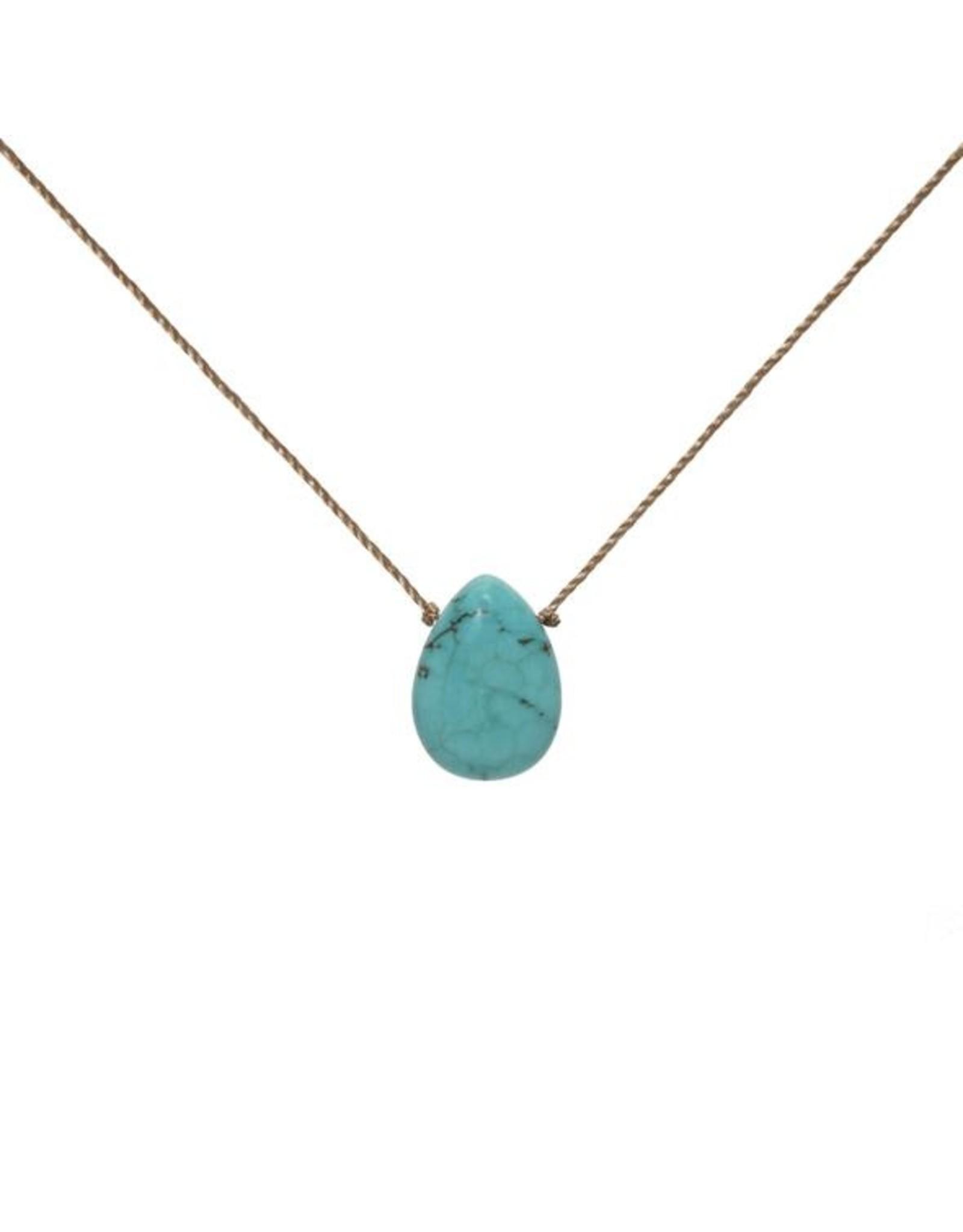 Blue Howlite Teardrop Necklace for Patience - SoulKu