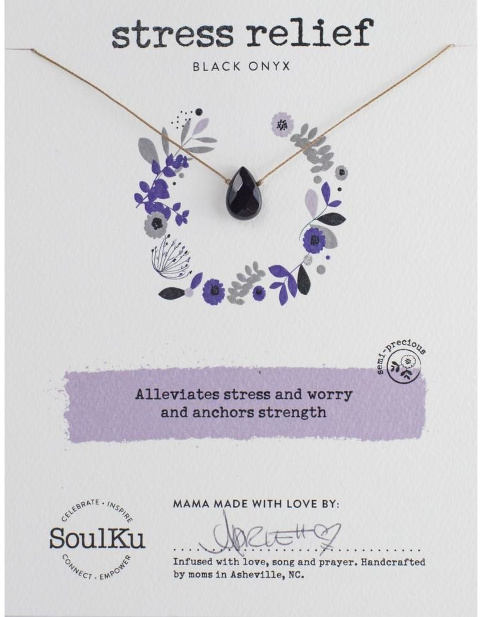 Black Onyx Necklace for Stress Relief-SoulKu