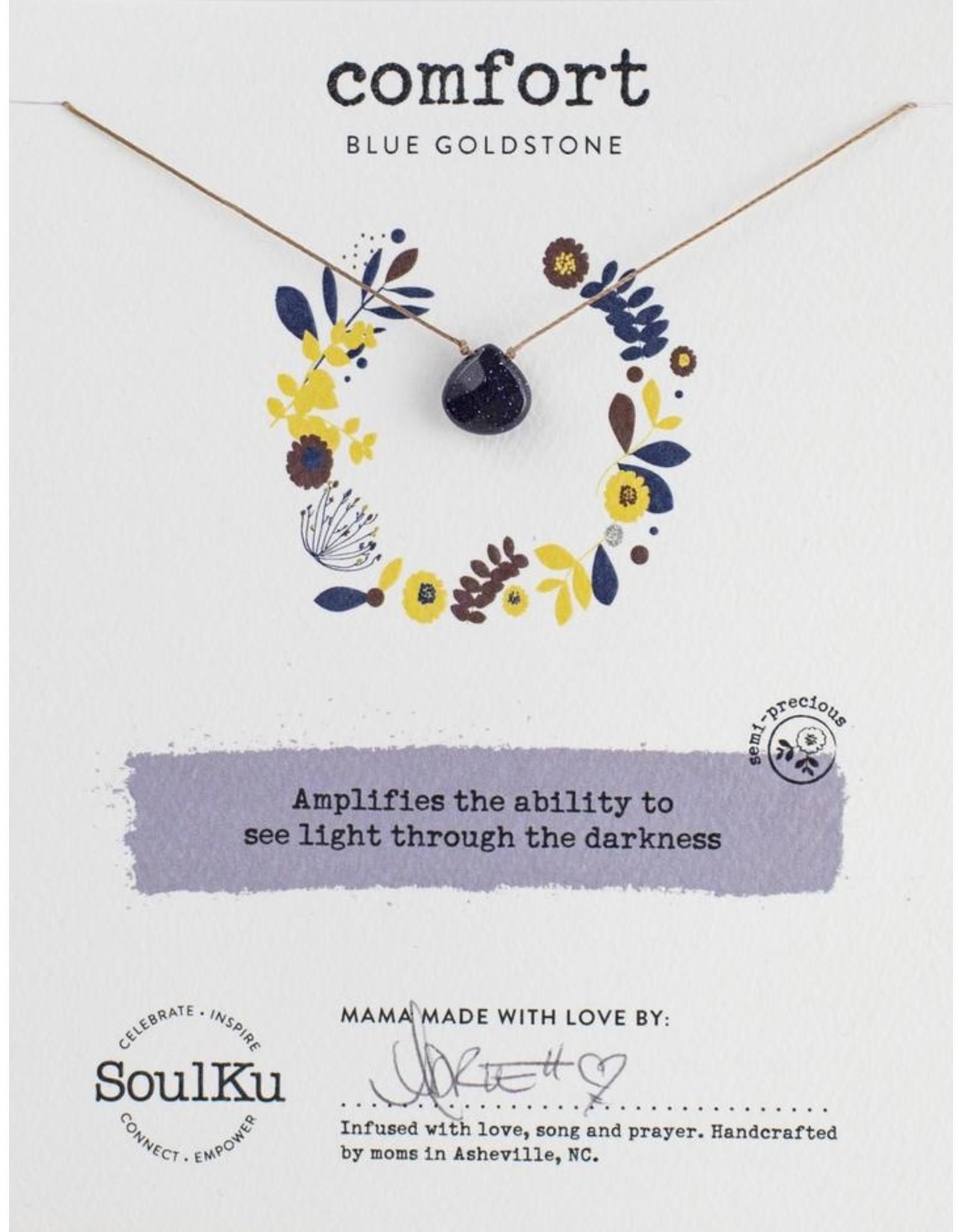 Blue Goldstone/Sandstone Teardrop Necklace for Comfort-SoulKu