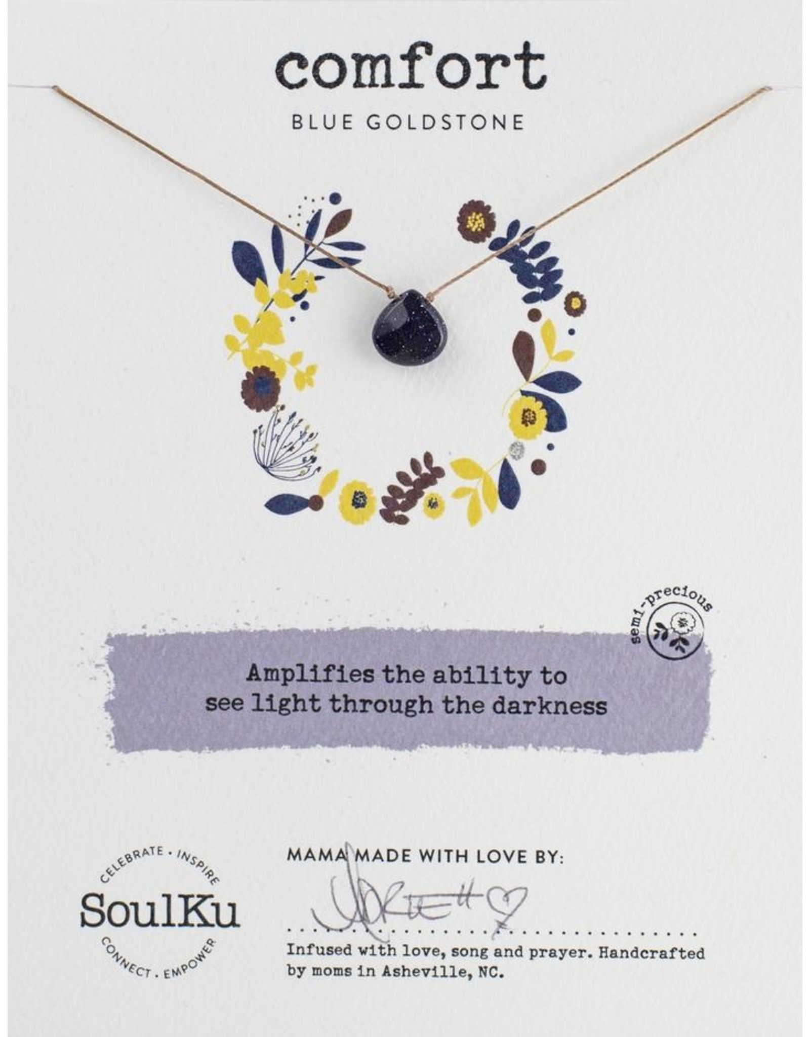 Blue Sandstone Necklace for Comfort-SoulKu