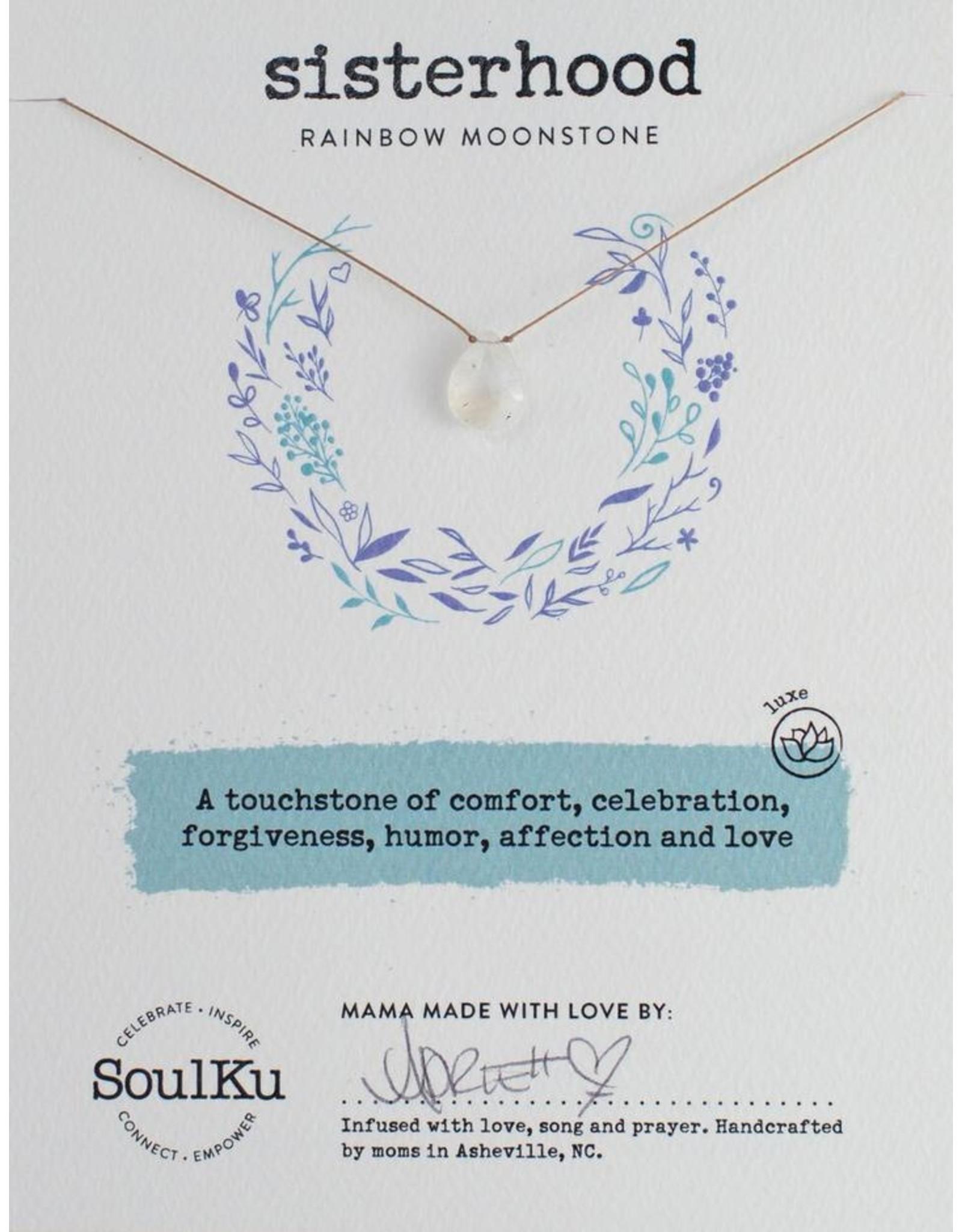 Rainbow Moonstone Necklace for Sisterhood-SoulKu