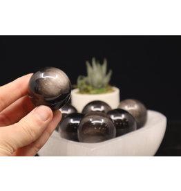 Silver Sheen Obsidian Sphere Orb-40mm