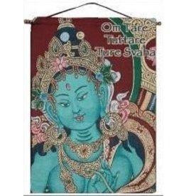 Tapestry Banner/Wall Hanging Green Tara Mantra