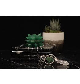 Spinning Merkaba w/ Clear Quartz Point Pendulum-Green Aventurine