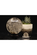 Clear Quartz Sphere with Black Tourmaline Rutile