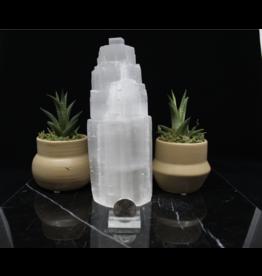 """Selenite/Satin Spar Single Iceberg Tower Lamp-8"""""""