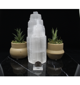 Selenite Single Iceberg Tower Lamp-8""