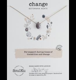 Botswana Agate Teardrop Necklace for Change-SoulKu