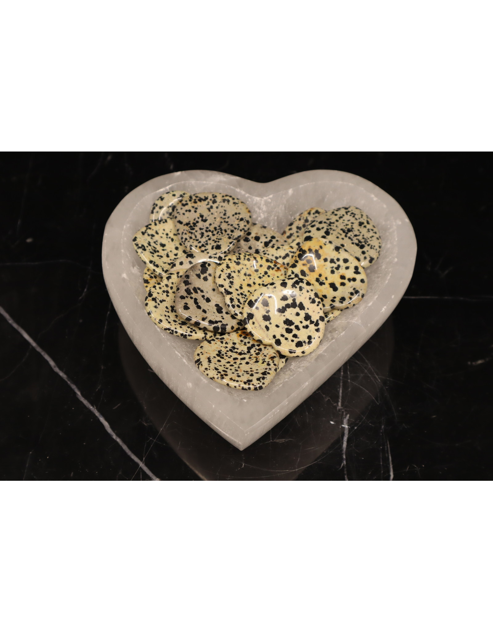 Dalmatian Jasper Worry Stone -Large Heart