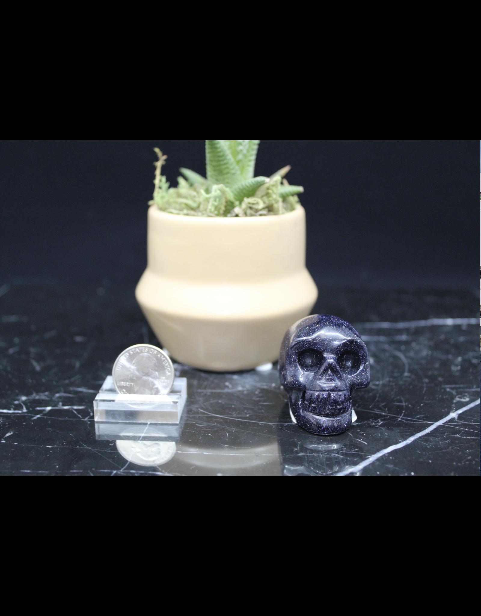 Blue Sandstone/Goldstone Skull-Medium