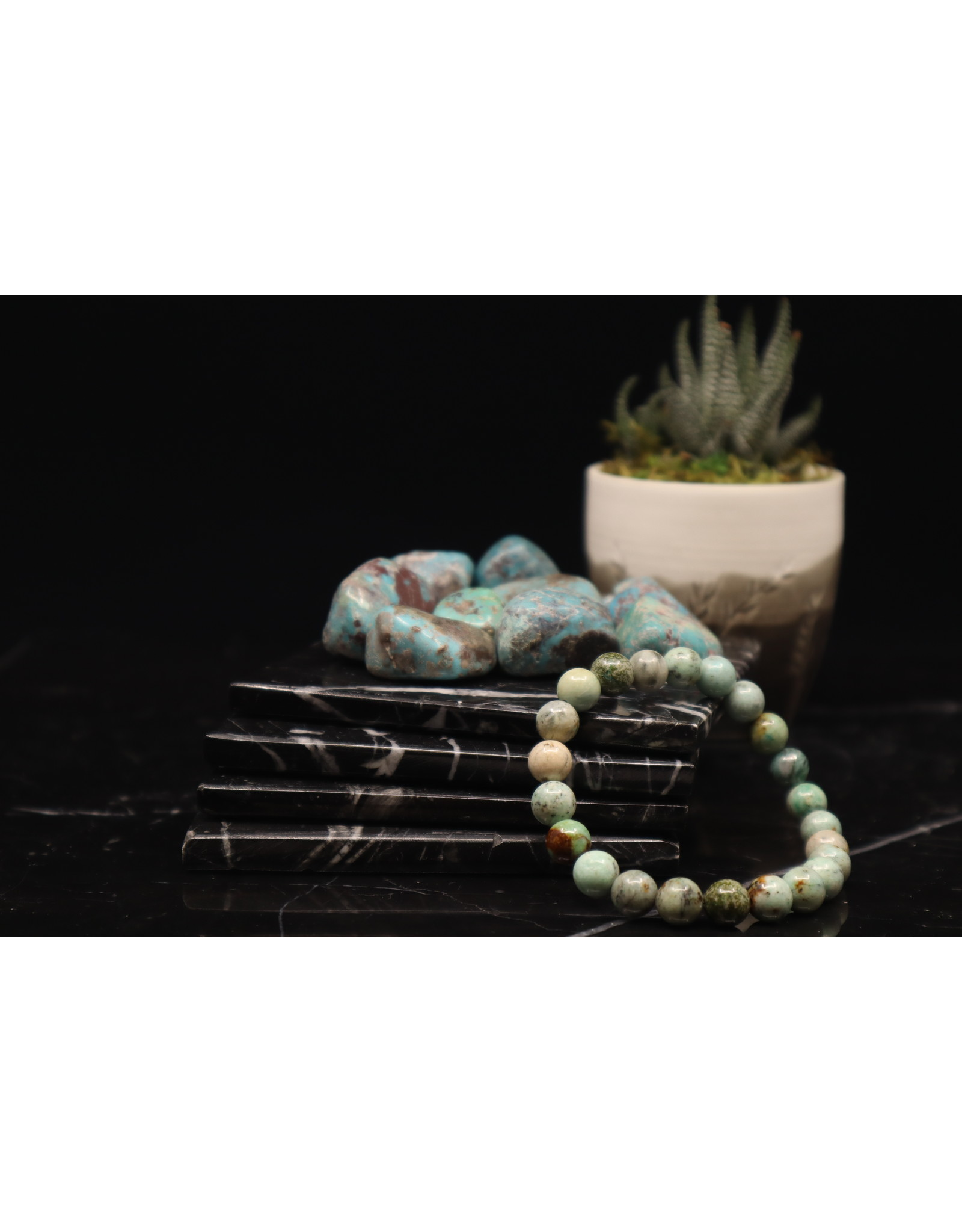 Bracelet -AAA Grade Peruvian Turquoise  - 8mm