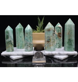 "Green (Phantom) Fluorite Tower/Point -Medium (3-4"")"