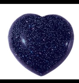 Blue Sandstone/Goldstone Puffy Heart