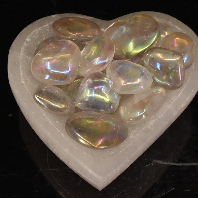 Angel Aura White Quartz Heart