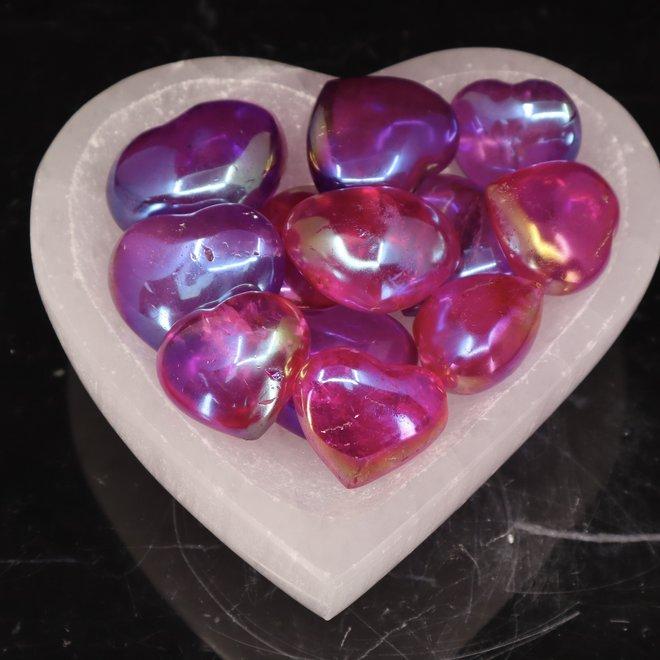 Dark Pink Aura Quartz Heart