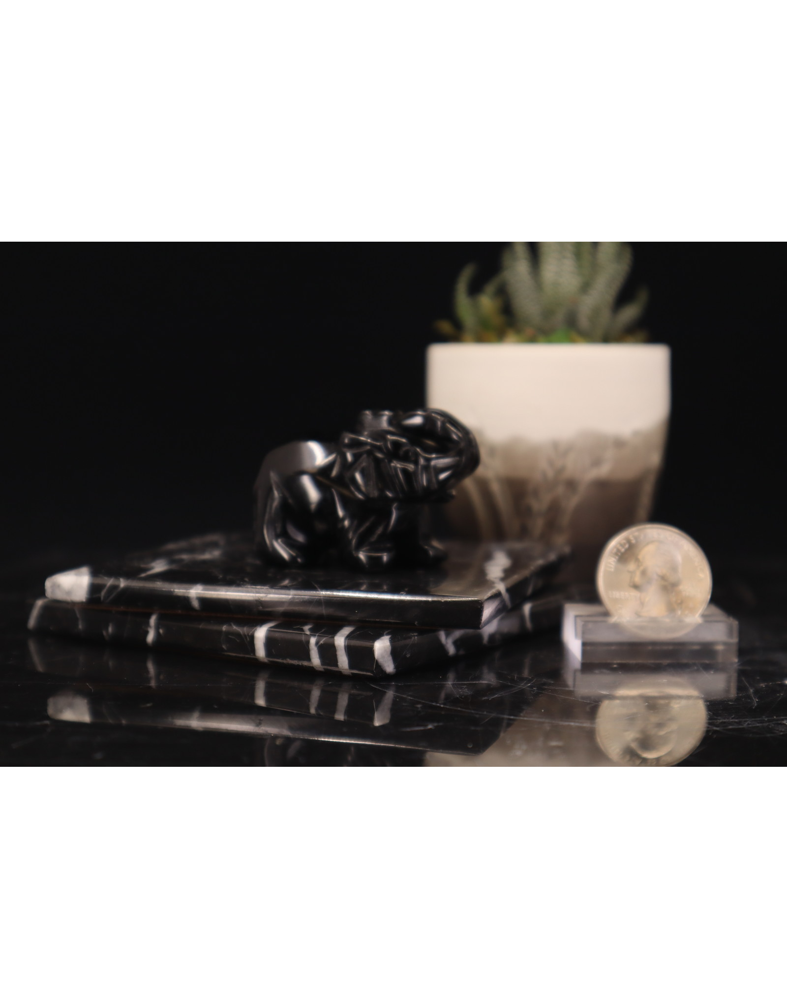 Black Obsidian Elephant-Medium