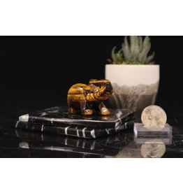 Gold Tigers Eye Elephant-Medium