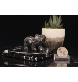Larvakite/Black Labradorite Elephant-Medium