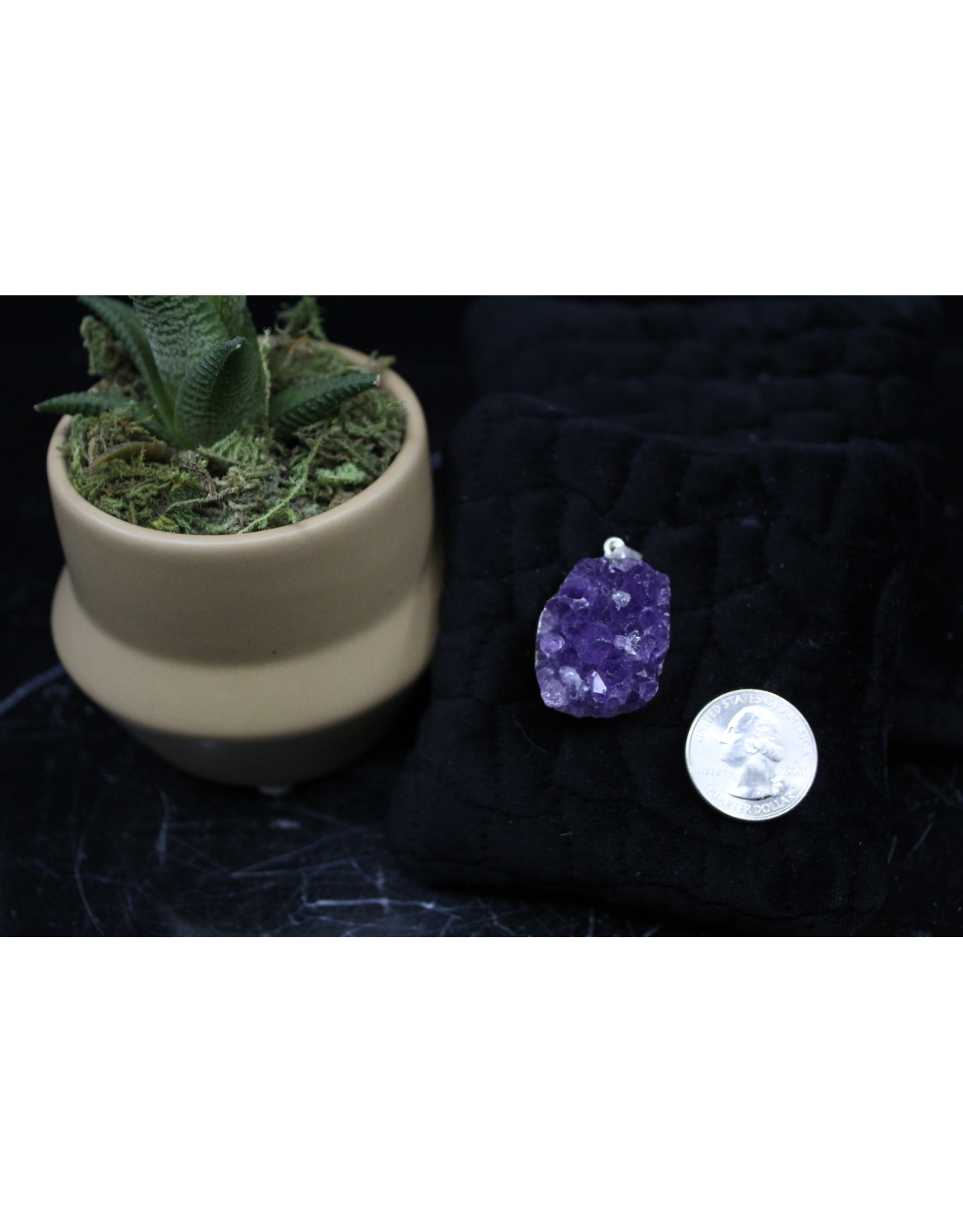 Amethyst Druze Pendant-Silver