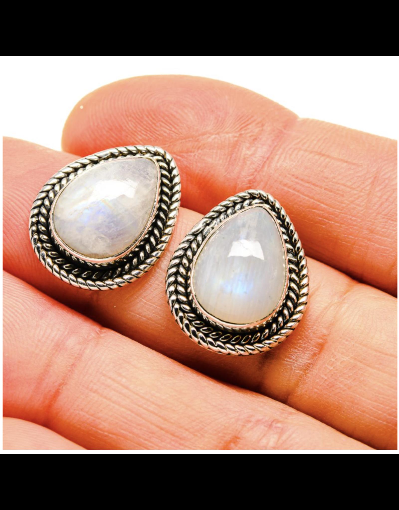 Rainbow Moonstone Earrings - Stud