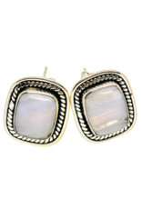 Blue Lace Agate Earrings - Stud