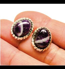 Chevron Amethyst Earrings - Stud