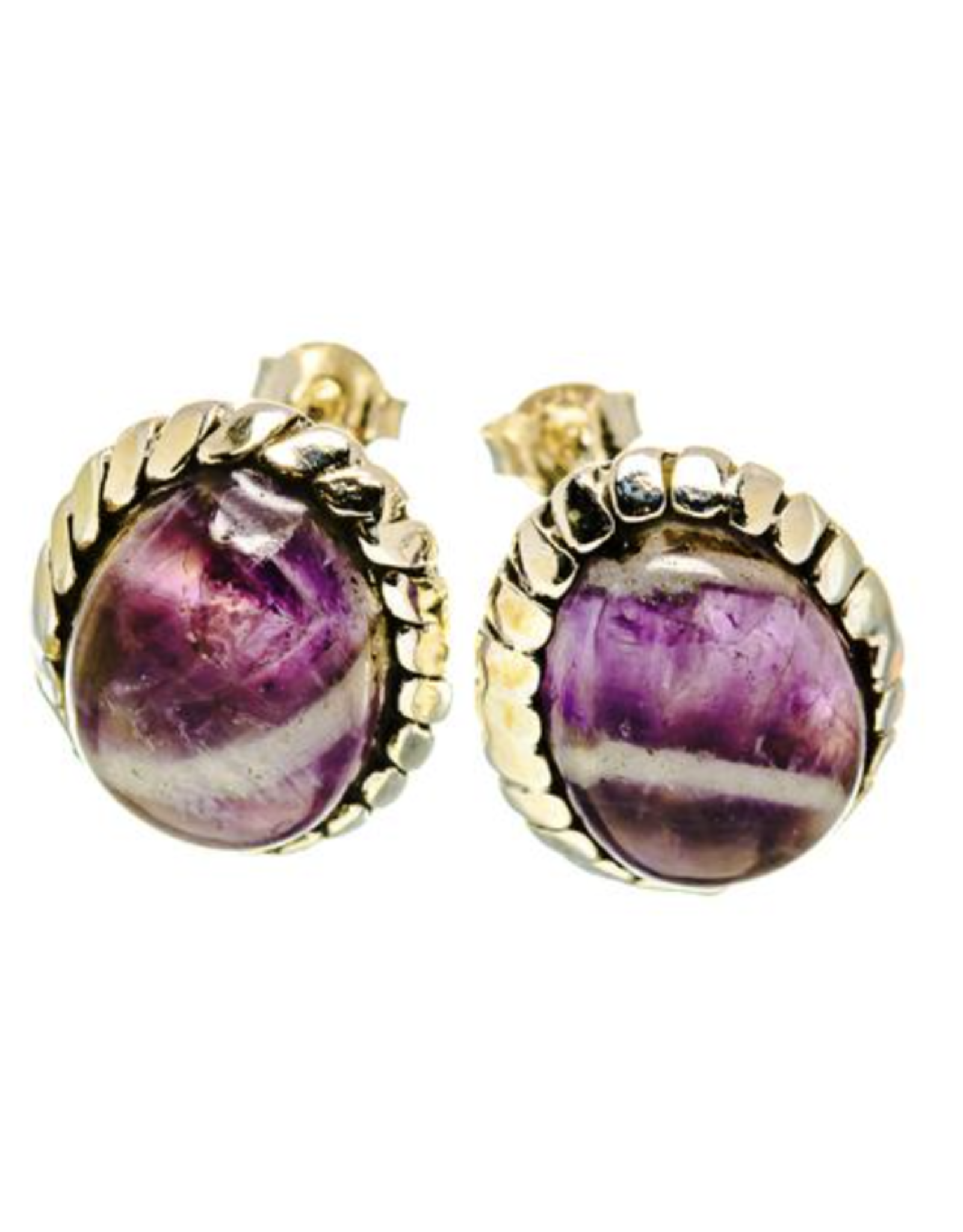 Chevron Amethyst Earrings - Stud