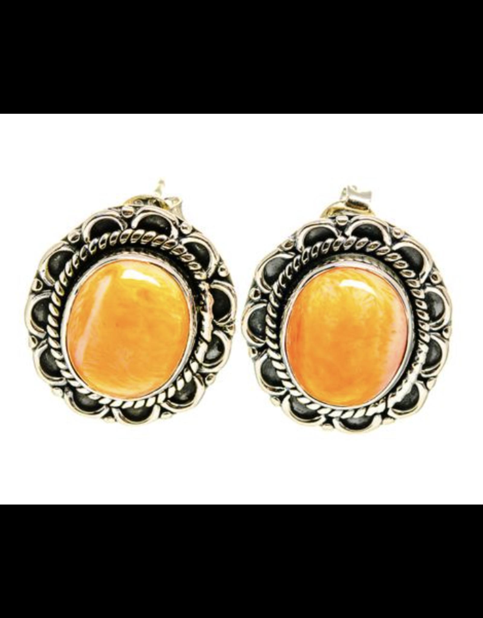 Orange Agate Earrings - Stud