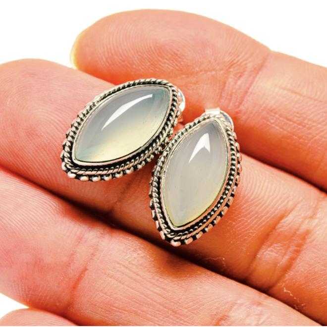 Aqua Chalcedony Earrings - Stud