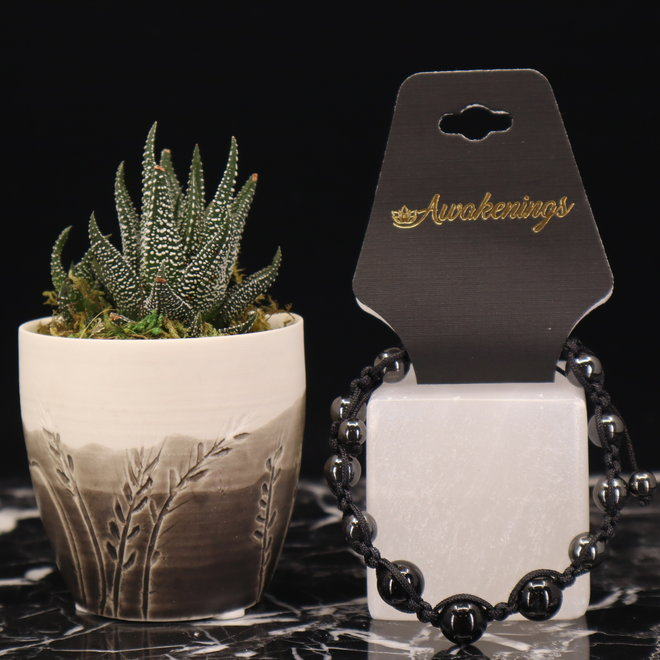 Shamballa Parachute Black Tourmaline & Hematite Bracelet