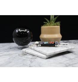 Chakra Pendulum w/ Clear Quartz Point-Black Obsidian