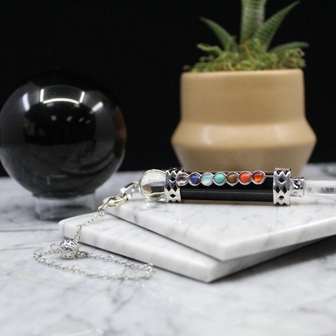 Chakra  w/ Clear Quartz Point-Black Obsidian Pendulum Wand