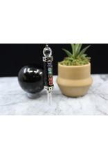 Pendulum -Chakra  w/ Clear Quartz Point-Black Obsidian