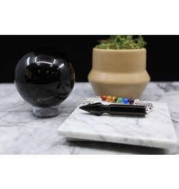 Arrow Pendulum w/ Chakra Beads-Black Obsidian