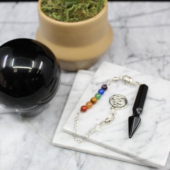 Arrow  w/ Chakra Beads-Black Obsidian Pendulum