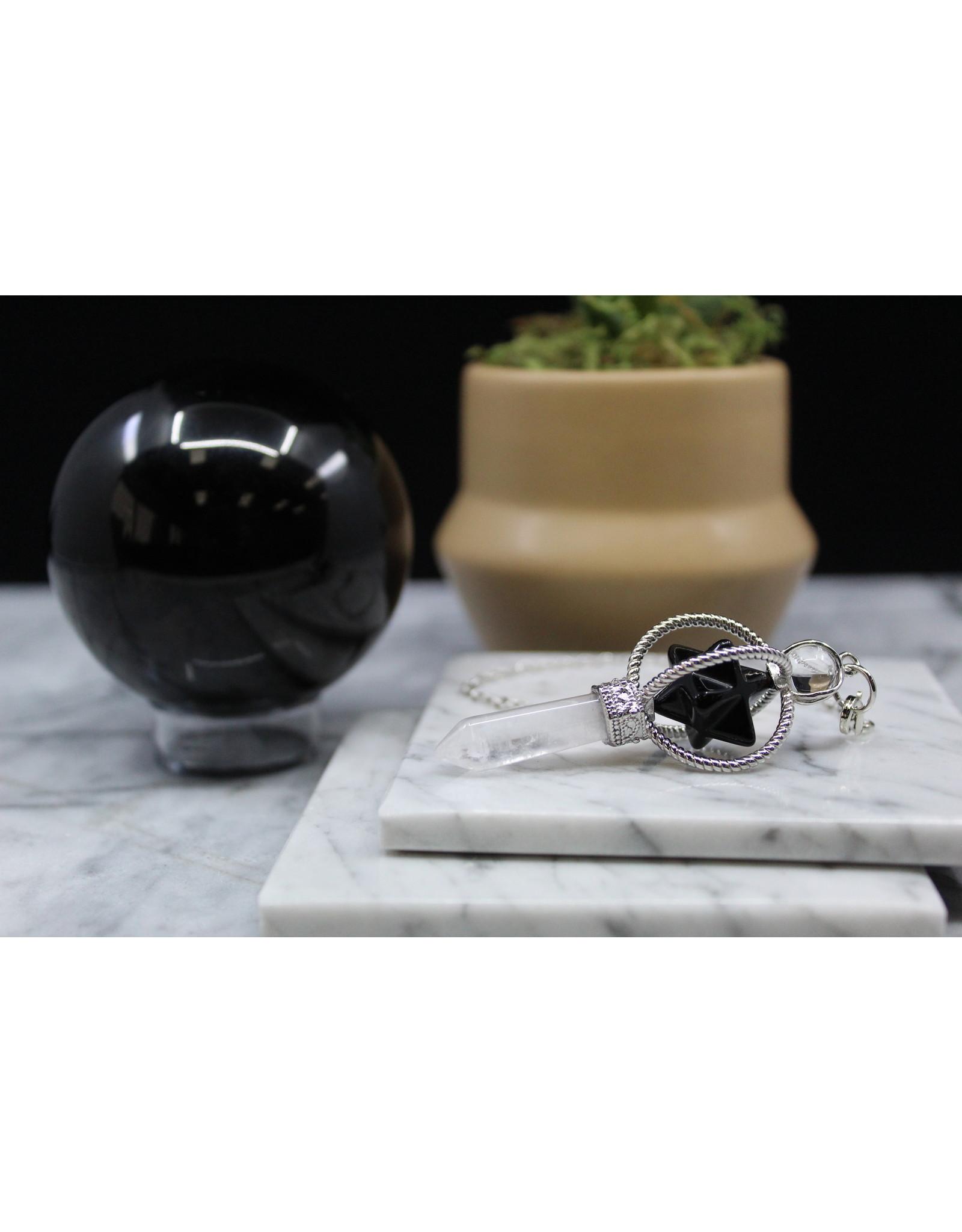 Spinning Merkaba w/ Clear Quartz Point Pendulum-Black Obsidian