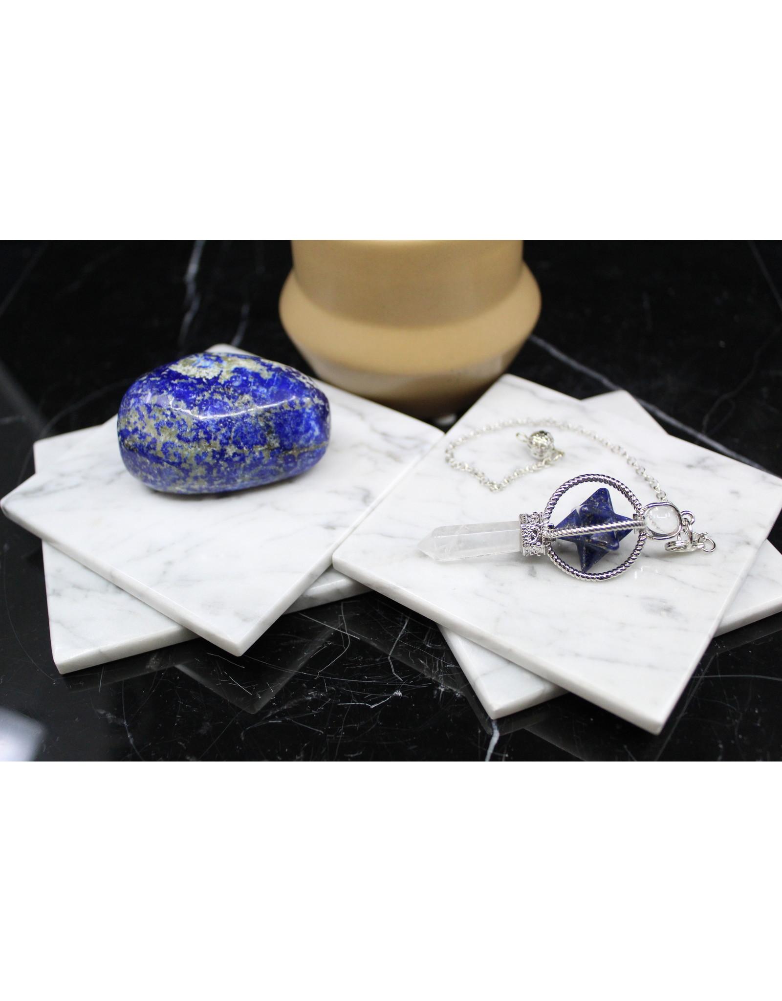 Spinning Merkaba w/ Clear Quartz Point Pendulum-Lapis Lazuli
