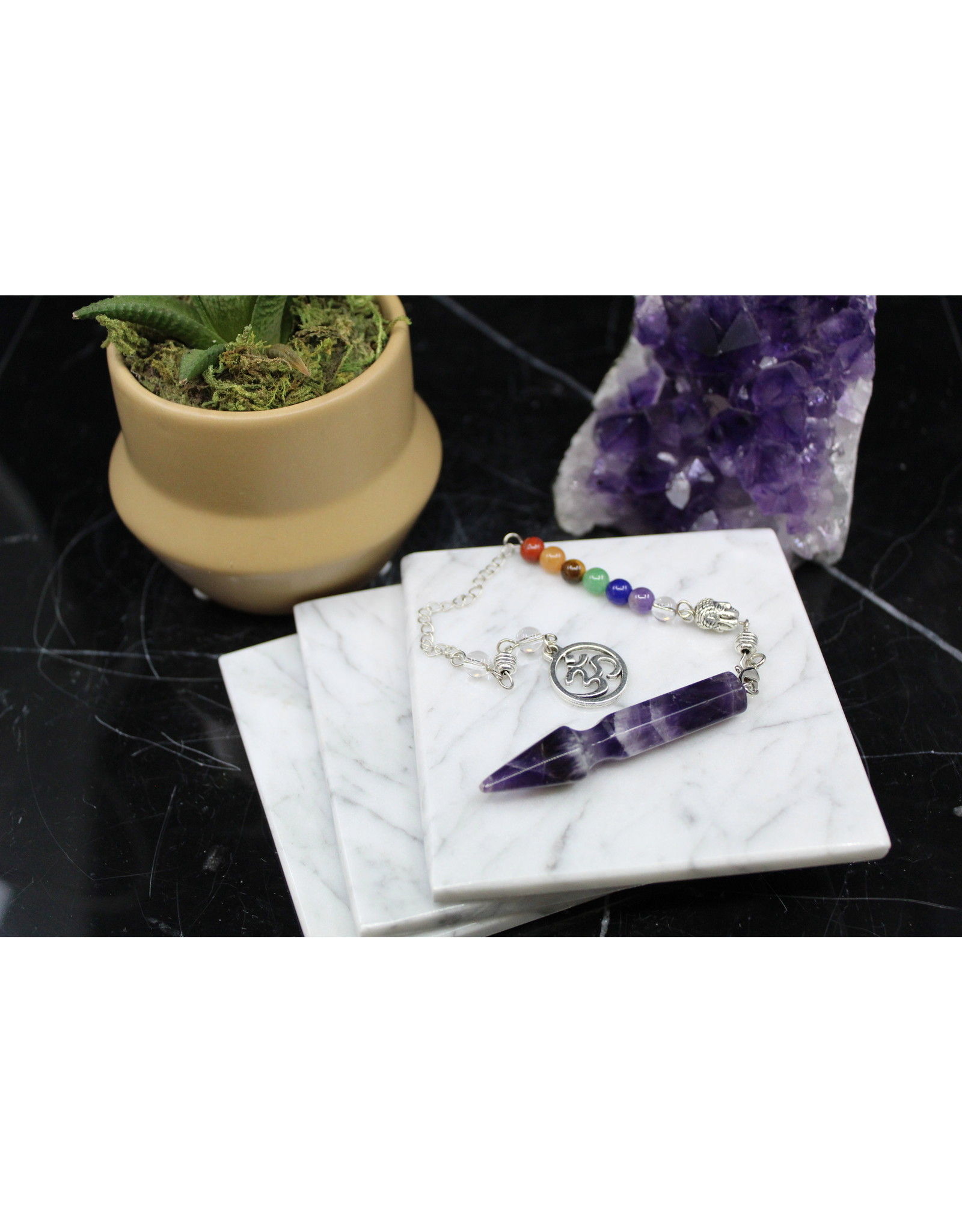 Arrow Pendulum w/ Chakra Beads-Amethyst
