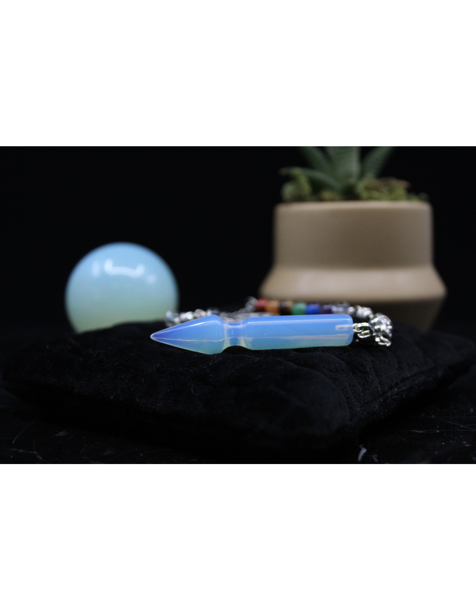 Pendulum -Arrow  w/ Chakra Beads-Opalite