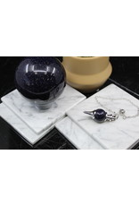 Blue Sandstone/Goldstone Round Ball Sephoroton Pendulum