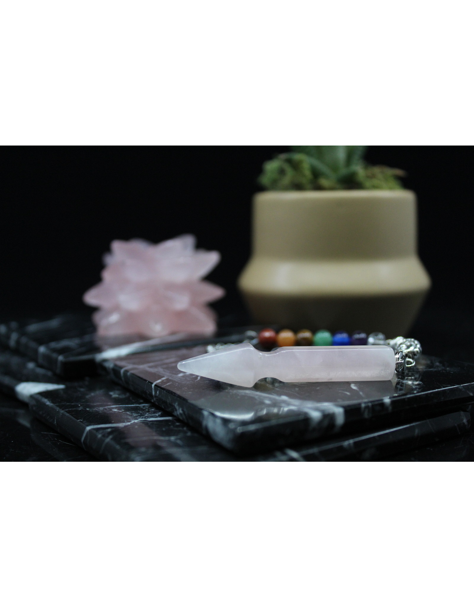 Pendulum -Arrow w/ Chakra Beads-Rose Quartz