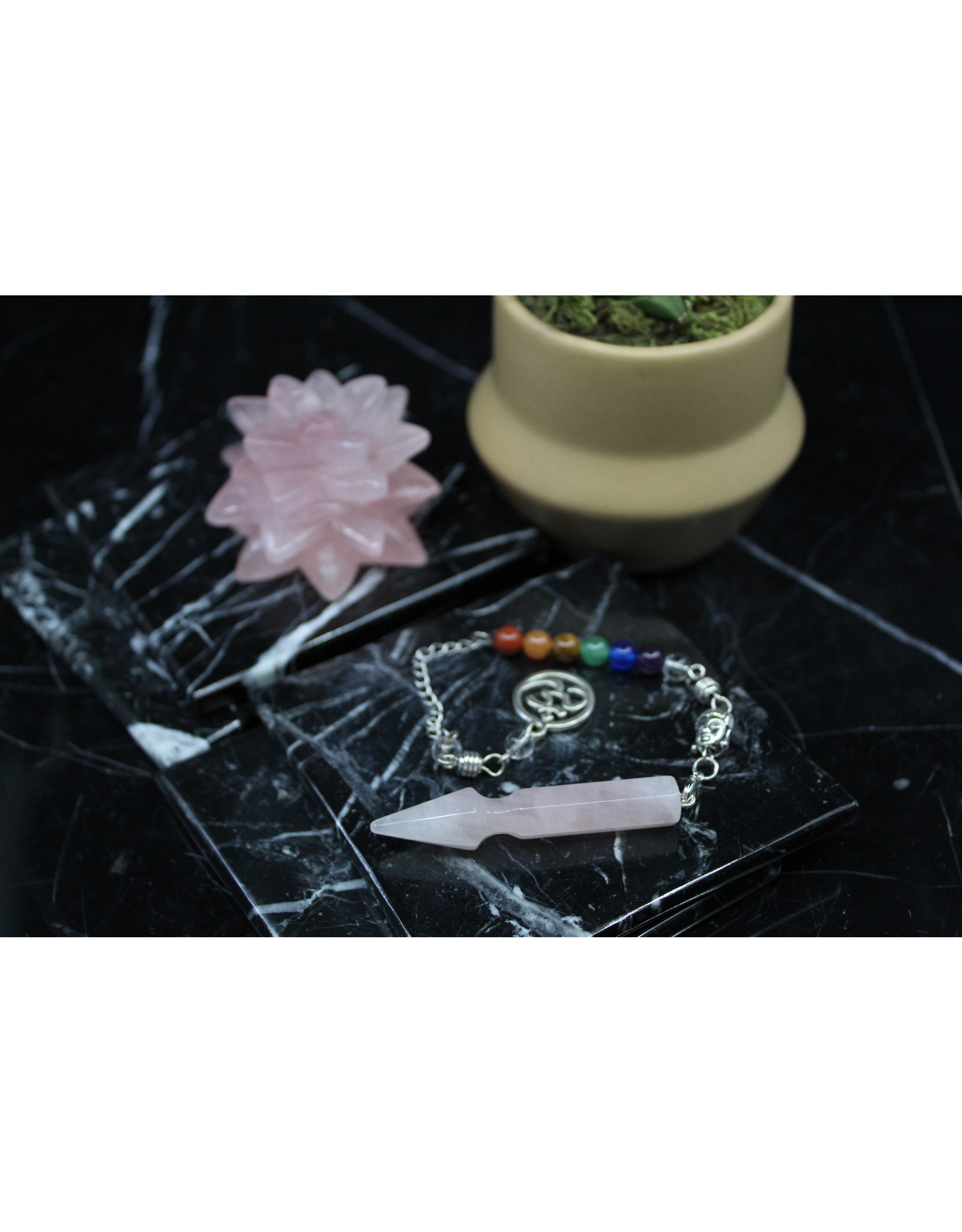 Arrow Pendulum w/ Chakra Beads-Rose Quartz