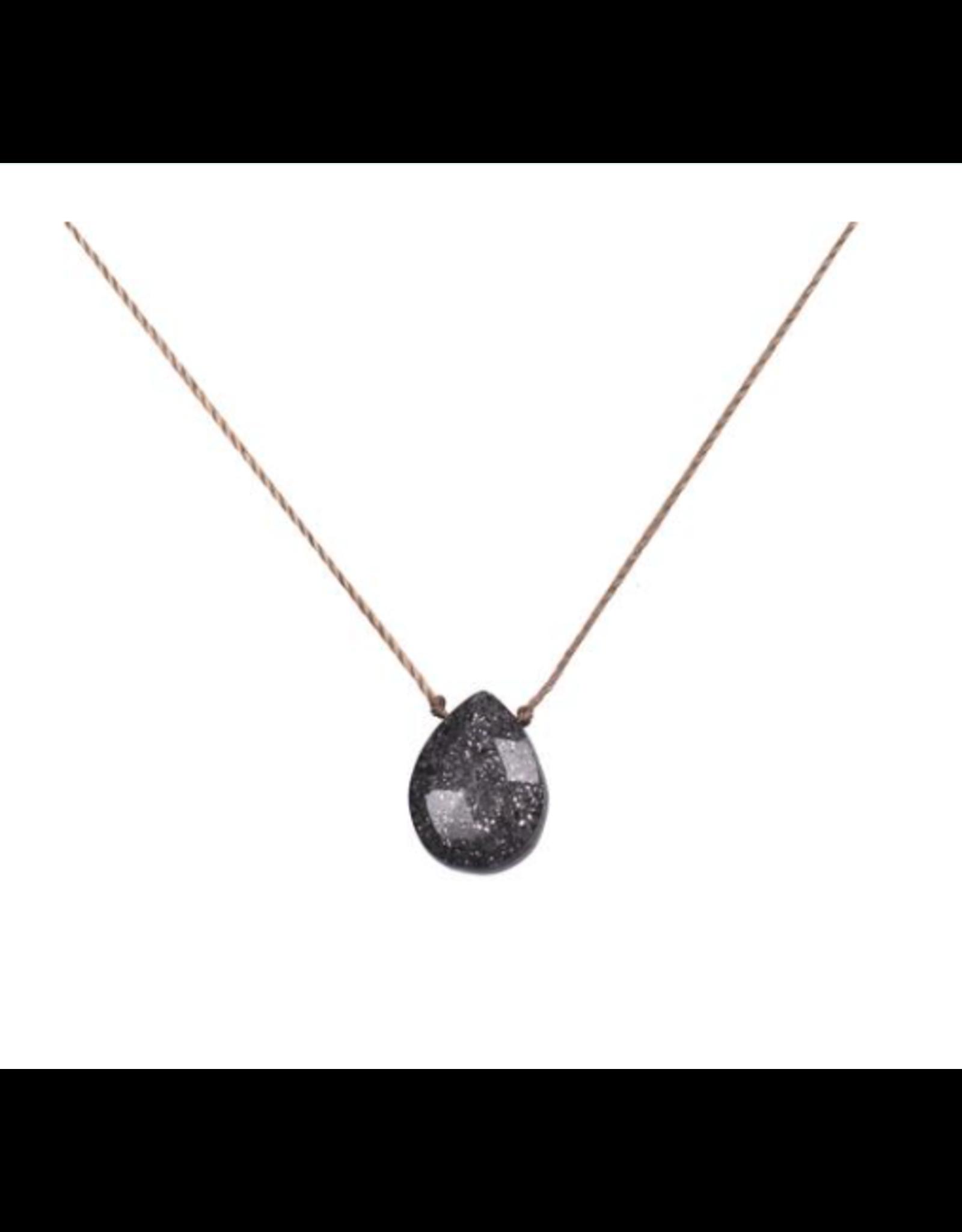 Black Sunstone Teardrop Necklace For Self Healing - SoulKu